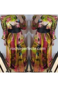 Rochie clara lunga din saten imprimat 2