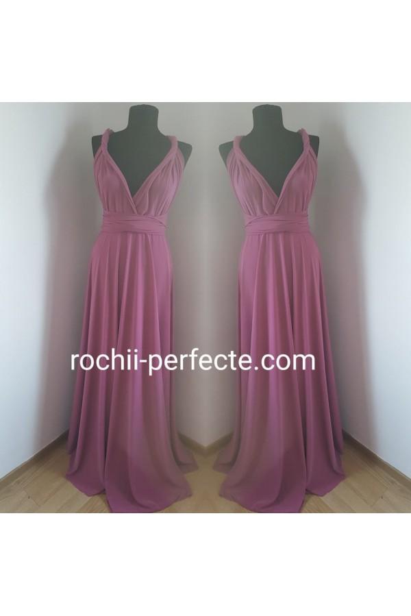 rochie versatila roz prafuit inchis