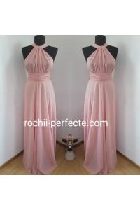 Rochie Versatila de voal roz pudra