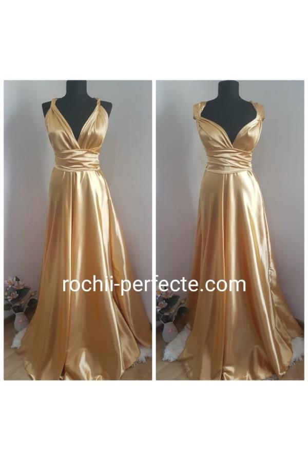 Rochie versatila din saten Gold