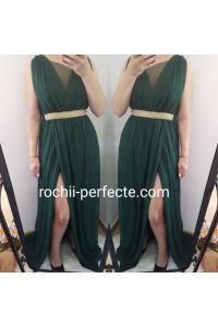 rochie amy verde cu crapatura