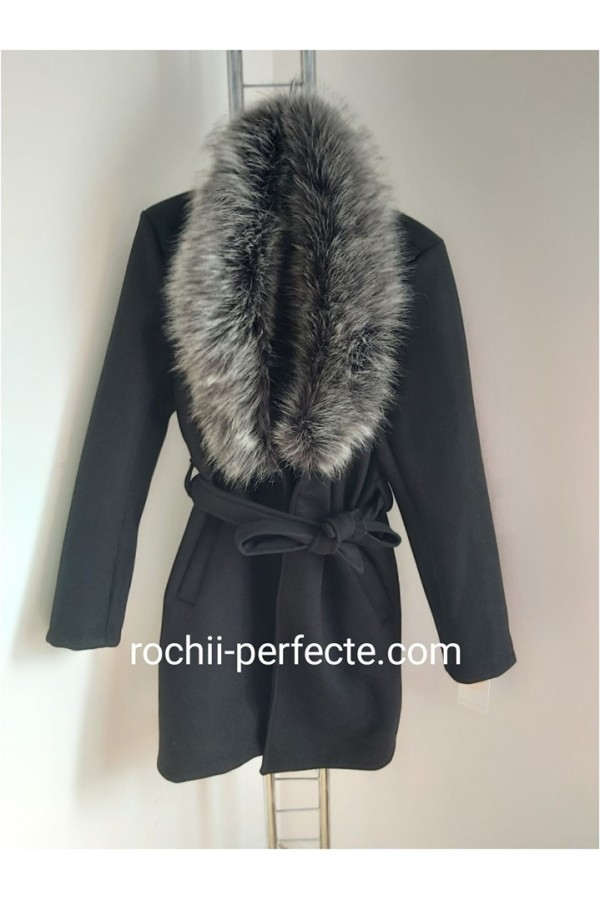 palton negru cu blanita