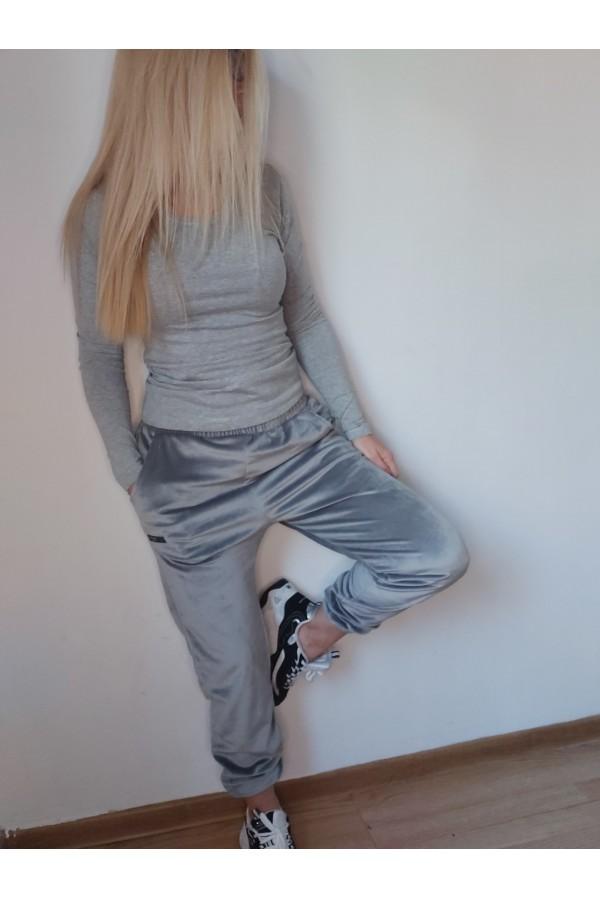 pantaloni catifea gri