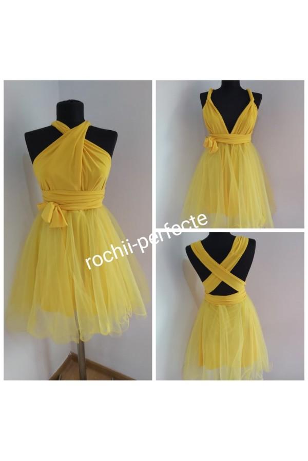 rochie versatila scurta cu tull galben