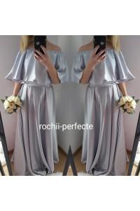 rochie argintie din tafta elastica