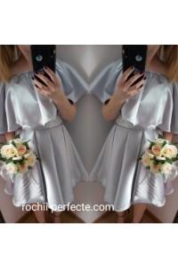 rochie scurta din tafta argintie
