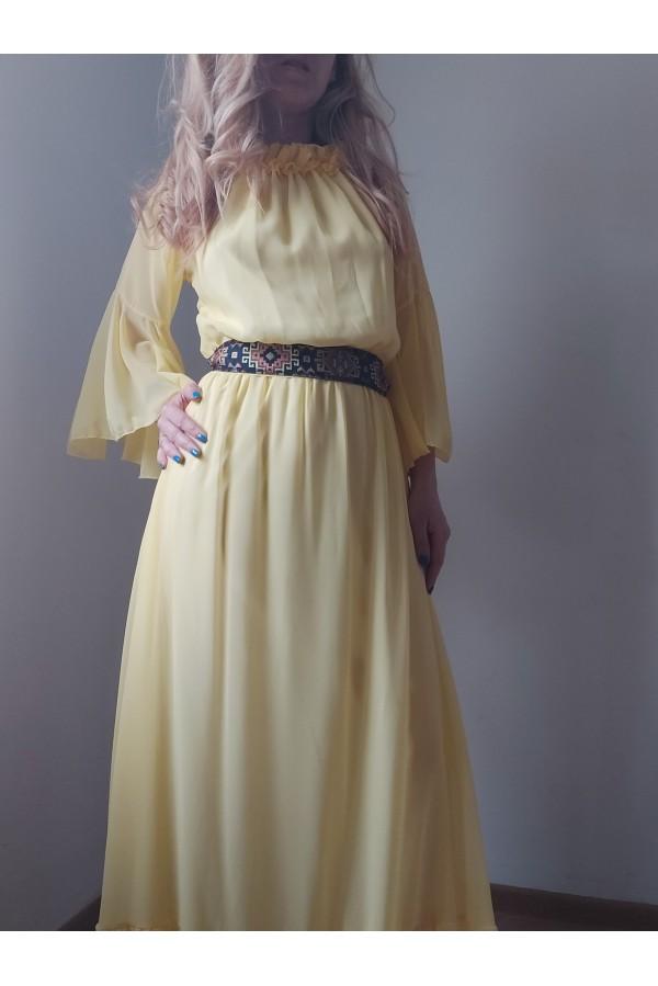 rochie nora lunga galbena