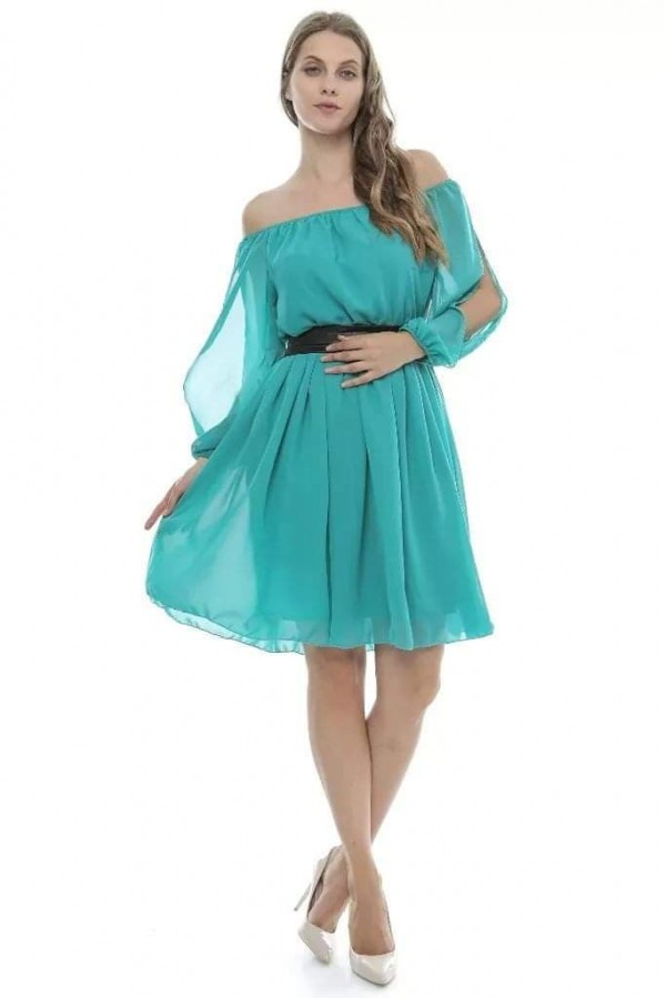 rochie clara scurta turcoaz