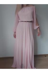 Rochie clara roz voal chiffon