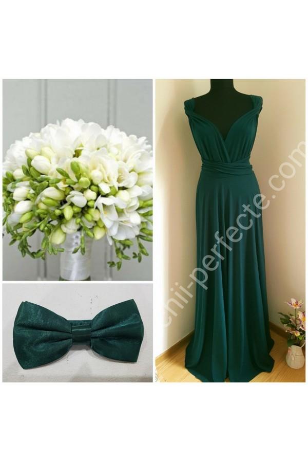 rochie versatila verde inchis plus papion