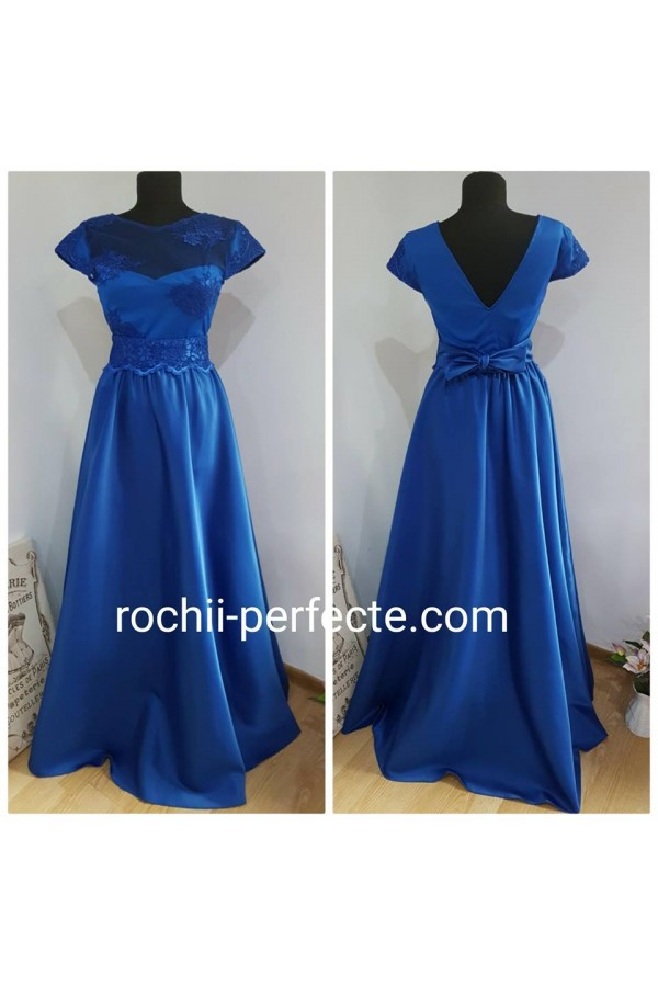 Rochie tina lunga din tafta albastra