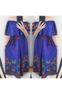 rochie gipsy long albastra