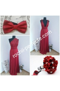 rochie versatila light bordo plus papion