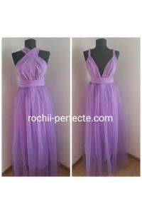 rochie versatila lunga cu tull lila