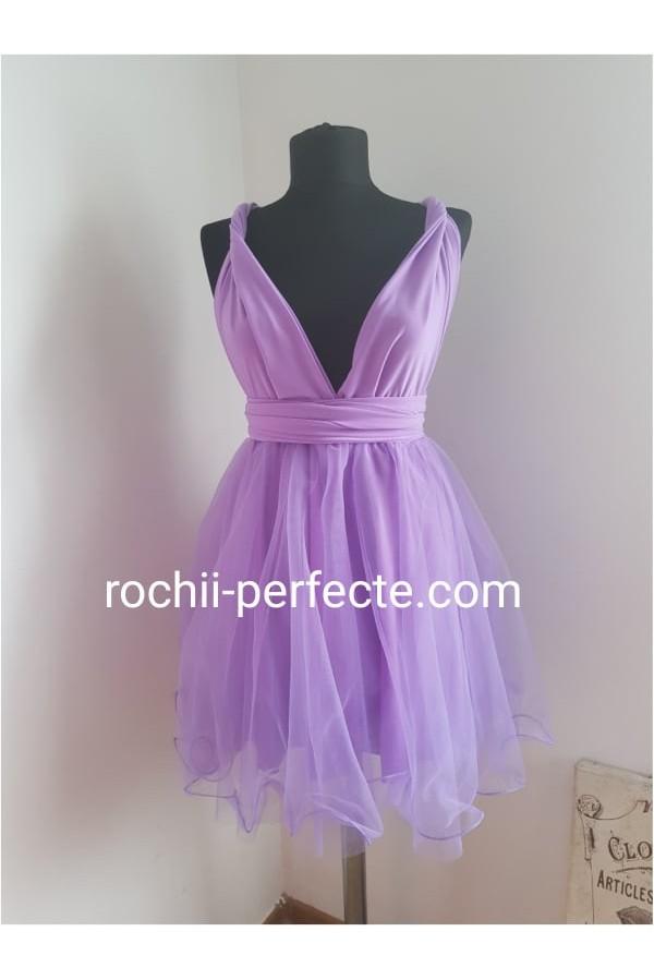 rochie versatila scurta cu tull lila