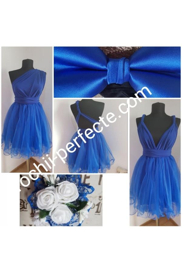 rochie versatila scurta albastra plus papion si bratara