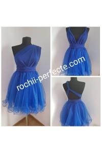 rochie versatila scurta cu tull albastra
