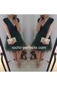 rochie versatila scurta cu tull verde inchis