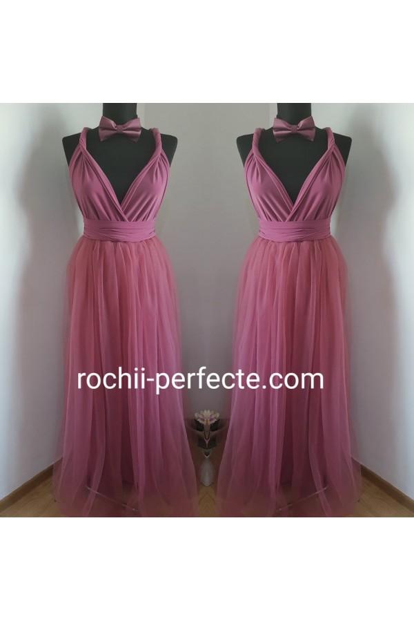 rochie versatila lunga cu tull roz prafuit inchis