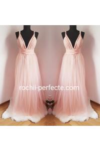 rochie versatila lunga cu tull somon
