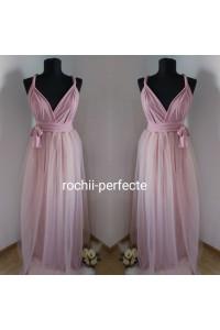 rochie versatila lunga cu tull roz pudra