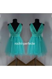 rochie versatila scurta cu tull verde aqua