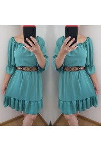 rochie nora scurta verde-turcoaz
