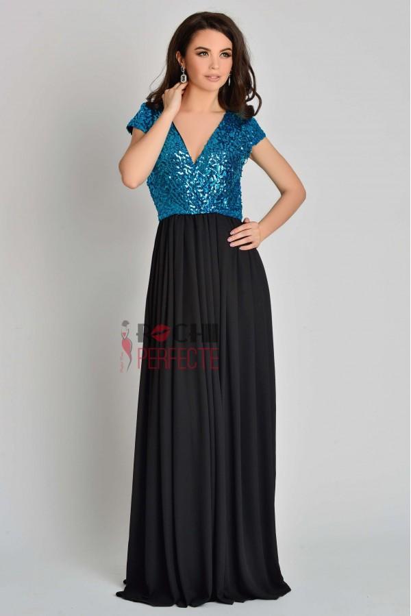 rochie lunga neagra cu paiete turcoaz